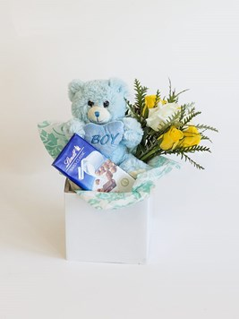 New baby flowers send a congratulations message from flowers by baby boy lindt box negle Gallery